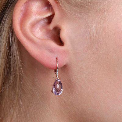 Rose Gold Pear Shaped Amethyst & Diamond Earrings 14K
