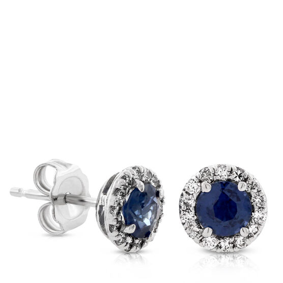 Sapphire & Diamond Halo Earrings 14K