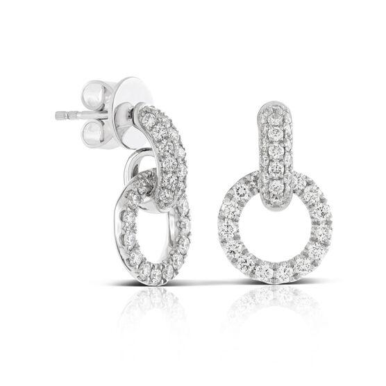 Pavé Set Diamond Circle Link Earrings 14K