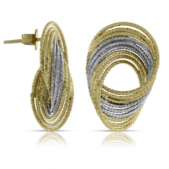 Toscano Twisted Wire Two-Tone Earrings 14K