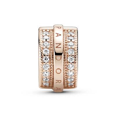 Pandora Rose™ Sparkling Pavé CZ Lines & Logo Clip Charm