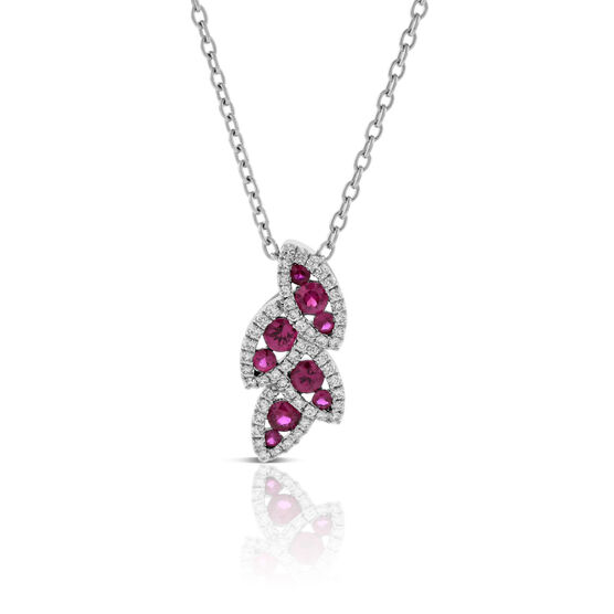Ruby & Diamond Halo Leaf Pendant 14K