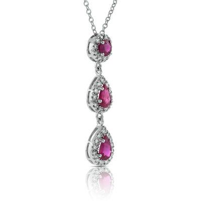 Ruby & Diamond 3-Stone Drop Pendant 14K