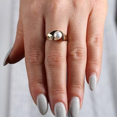 Cultured Pearl & Diamond Ring 14K