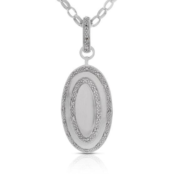Diamond Oval Pendant in Sterling Silver