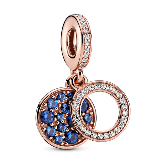 Pandora Rose™ Sparkling Blue Crystal & CZ Disc Double Dangle Charm