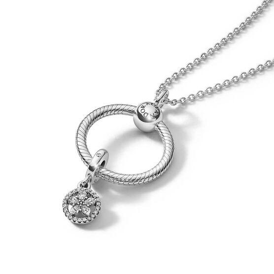 Pandora Sparkling Snowflake Pandora Moments O Pendant CZ Gift Set