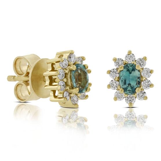 Alexandrite & Diamond Stud Earrings 18K