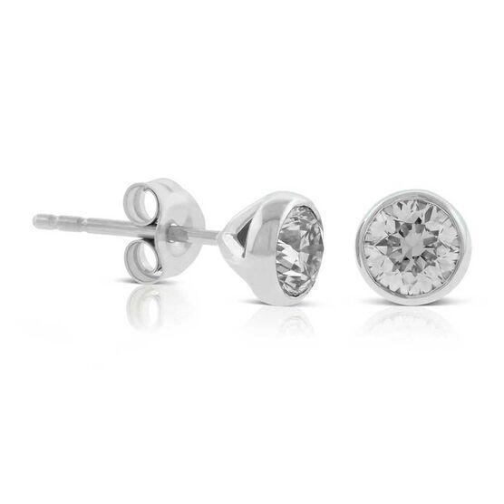 Bezel Set Diamond Stud Earrings 14K, 3/4 ctw.