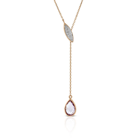 "Rose Gold Amethyst & Diamond ""Y"" Necklace 14K"