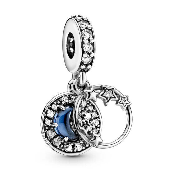 Pandora Blue Night Sky Crescent Moon & Stars Dangle Charm
