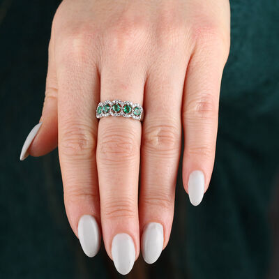 5-Stone Emerald & Diamond Ring 14K