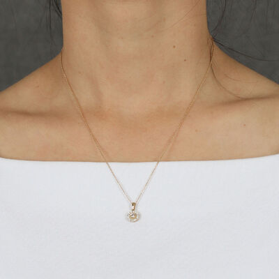 Ikuma Canadian Diamond Halo Necklace 14K