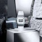 G-Shock Steel White Strap Rectangular Watch, 43.8mm