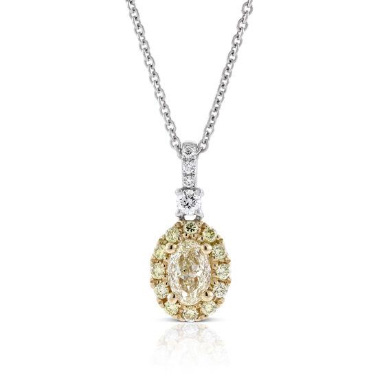 Yellow & White Diamond Necklace 14K