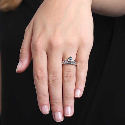 Blue Topaz & Diamond Crown Ring 14K