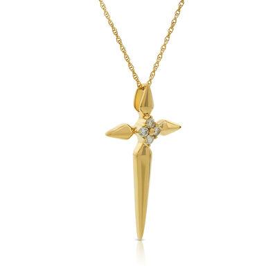 Diamond Cluster Cross Necklace 14K