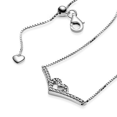 Pandora Sparkling Wishbone Heart CZ Collier Necklace