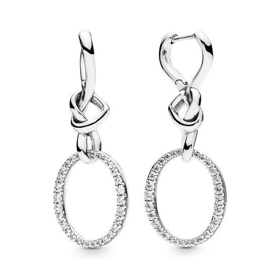 Pandora Knotted Heart Dangle CZ Earrings