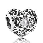 PANDORA April Signature Heart Charm