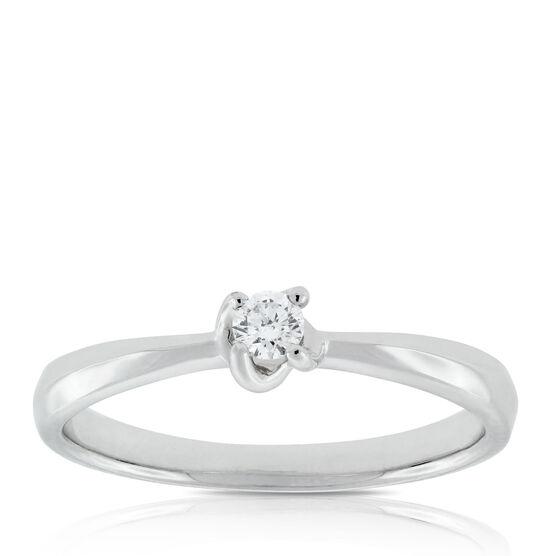 Diamond Twist Solitaire Ring 14K
