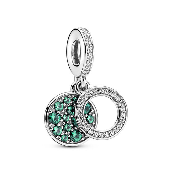 Pandora Sparkling Green Disc Crystal & CZ Double Dangle Charm