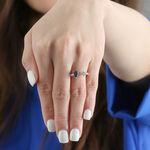 Sapphire & Diamond Open Shank Ring 14K