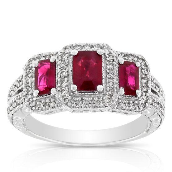 Ruby & Diamond Three-Stone Ring 14K