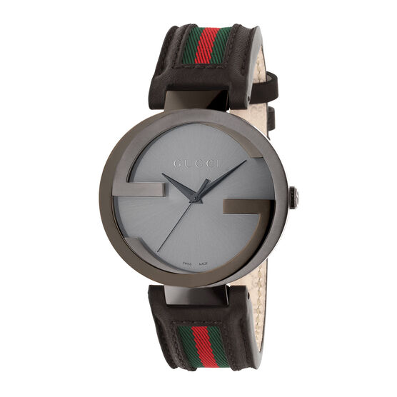 Gucci Interlocking Collection Green-Red-Green Strap Watch