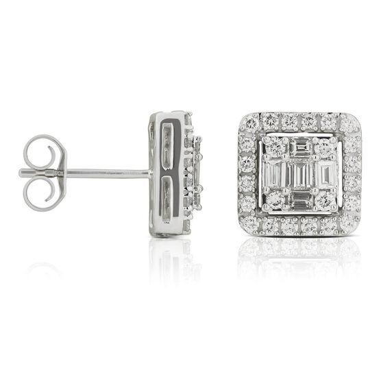 Baguette & Round Diamond Cluster Halo Stud Earrings 14K