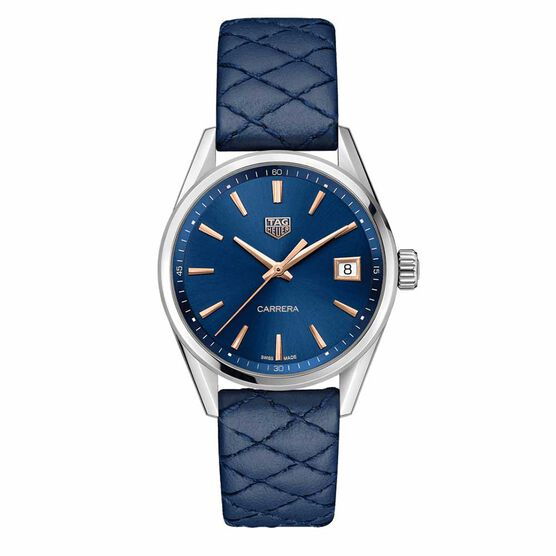 TAG Heuer Carrera Blue Quilted Strap Quartz Watch, 36mm