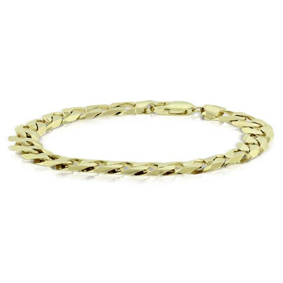 Men's Beveled Curb Link Bracelet 14K