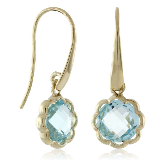 Scalloped Bezel Blue Topaz Earrings 14K