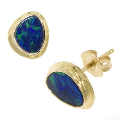 Opal Doublet Earrings 14K