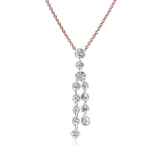 Rose Gold Drilled Collection Diamond Tassel Necklace 18K