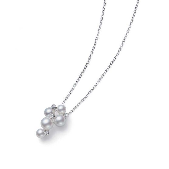 Mikimoto Akoya Cultured Pearl & Diamond Bubble Necklace 18K