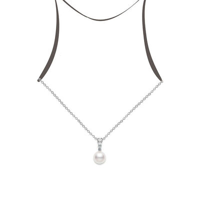 Mikimoto Morning Dew Cultured Akoya Pearl & Diamond Necklace 18K
