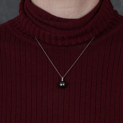 Cultured South Sea Tahitian Pearl & Diamond Necklace 14K