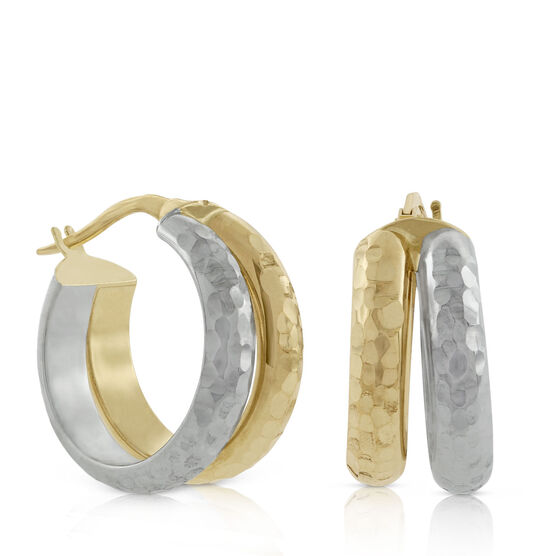 Toscano Diamond Cut Double Hoop Earrings 18K