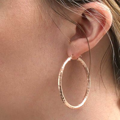 Rose Gold Toscano Roman Hammered Oval Hoop Earrings 14K