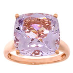 Rose Gold Amethyst & Diamond Ring 14K