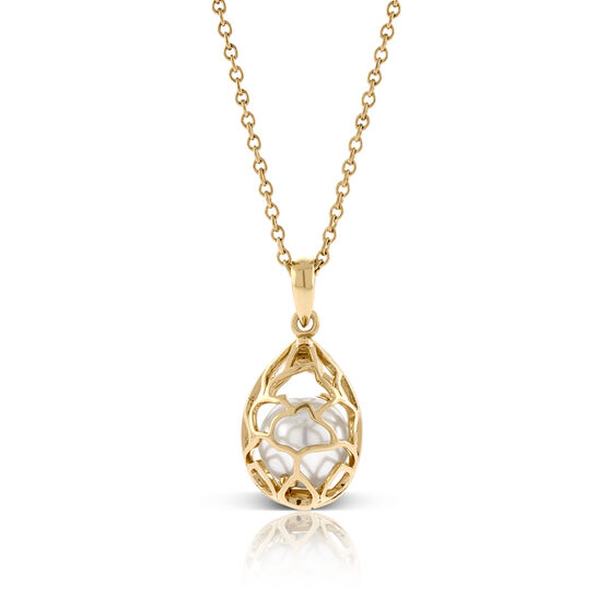 Caged Cultured Freshwater 9.5mm Pearl Necklace 14K