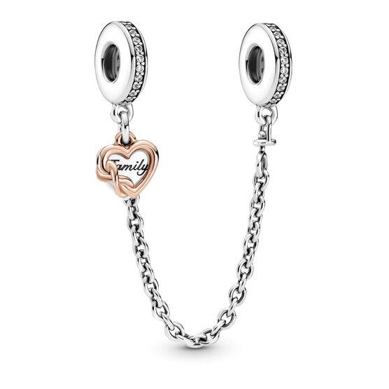 Pandora Family Heart CZ Safety Chain Charm