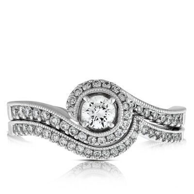 Diamond Swirl Bridal Set 14K