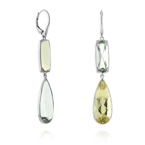 Green Quartz Dangle Earrings 14K