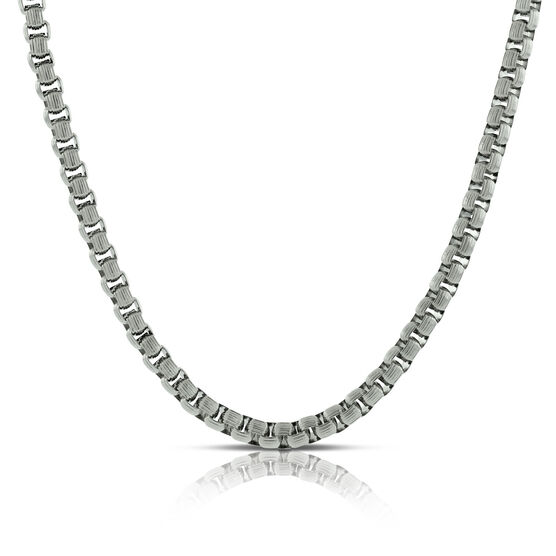 Ribbed Chain Necklace in Stainless Steel, 24""