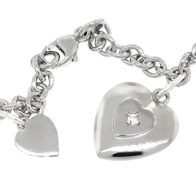Baby Bracelet with Diamond Heart in Sterling Silver
