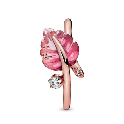 Pandora Rose™ Pandora Wonderland Pink Murano Glass Leaf & CZ Ring