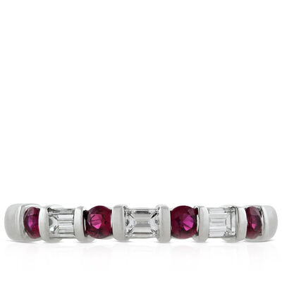 Ruby & Baguette Diamond Band in Platinum