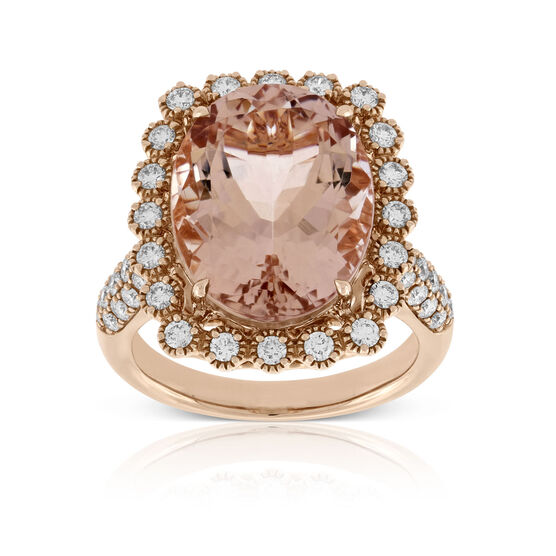 Rose Gold Morganite & Diamond Cocktail Ring 14K